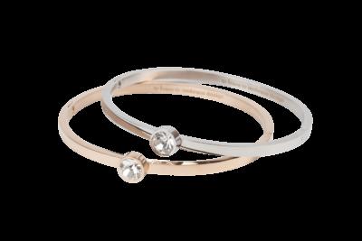 Emily | Bangle armband met steentje en onzichtbare sluiting in klassiek zilver of goud stainless steel.