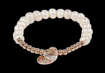Zoetwater parel armband voor dames met elastische band, goudkleurige stainless steel kralen en hartjes bedel.