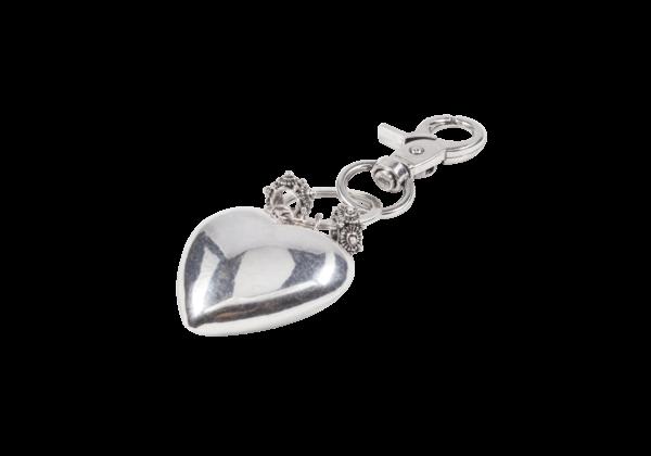 Sleutelhanger met hart en Zeeuwse knop bedeltjes van zilverkleurig stainless steel.
