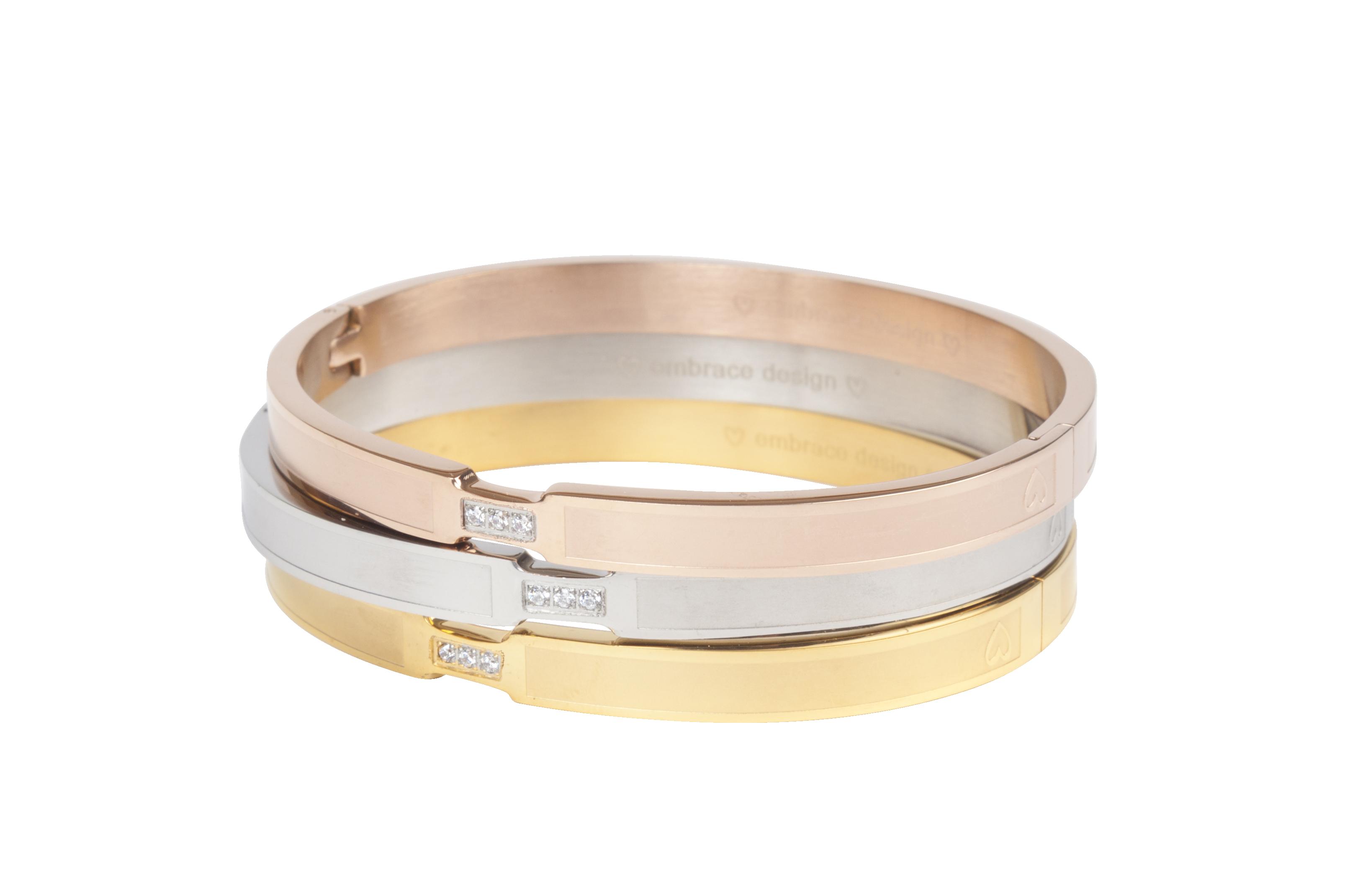 Klassieke bangle armband beschikbaar in tijdloze kleuren zoals zilver, goud en rose