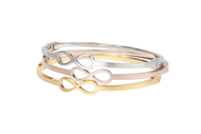 Alicia | Minimalistische bangle met infinity symbool in zilver, goud en rose.