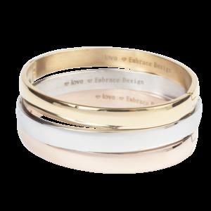 Brede bangle armband met glanzende afwerking van stainless steel in goud, zilver of rose.