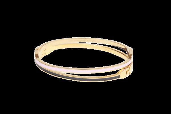 Smalle bangle armband van goudkleurige stainless steel met rosé of zwarte emaille.