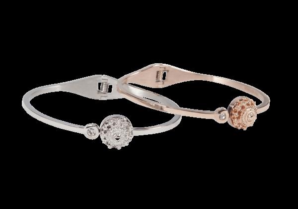 Zeeuwse knop armband in zilver of rosé stainless steel.