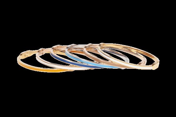 Opvallende bangle armband in vrolijke kleuren gemaakt van stainless steel en émaille.