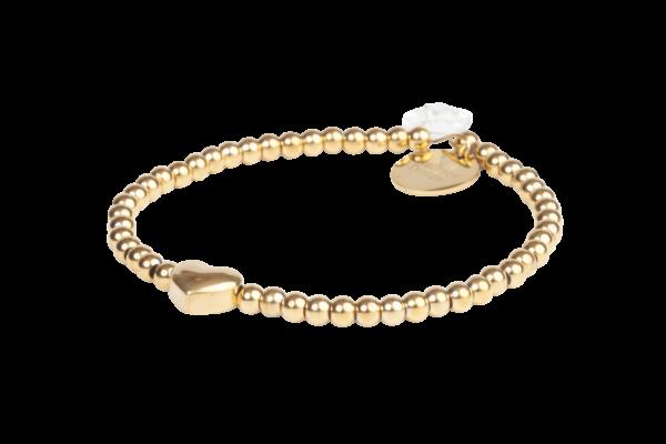 Elastisch armbandje met gouden kralen en hartje in het midden.