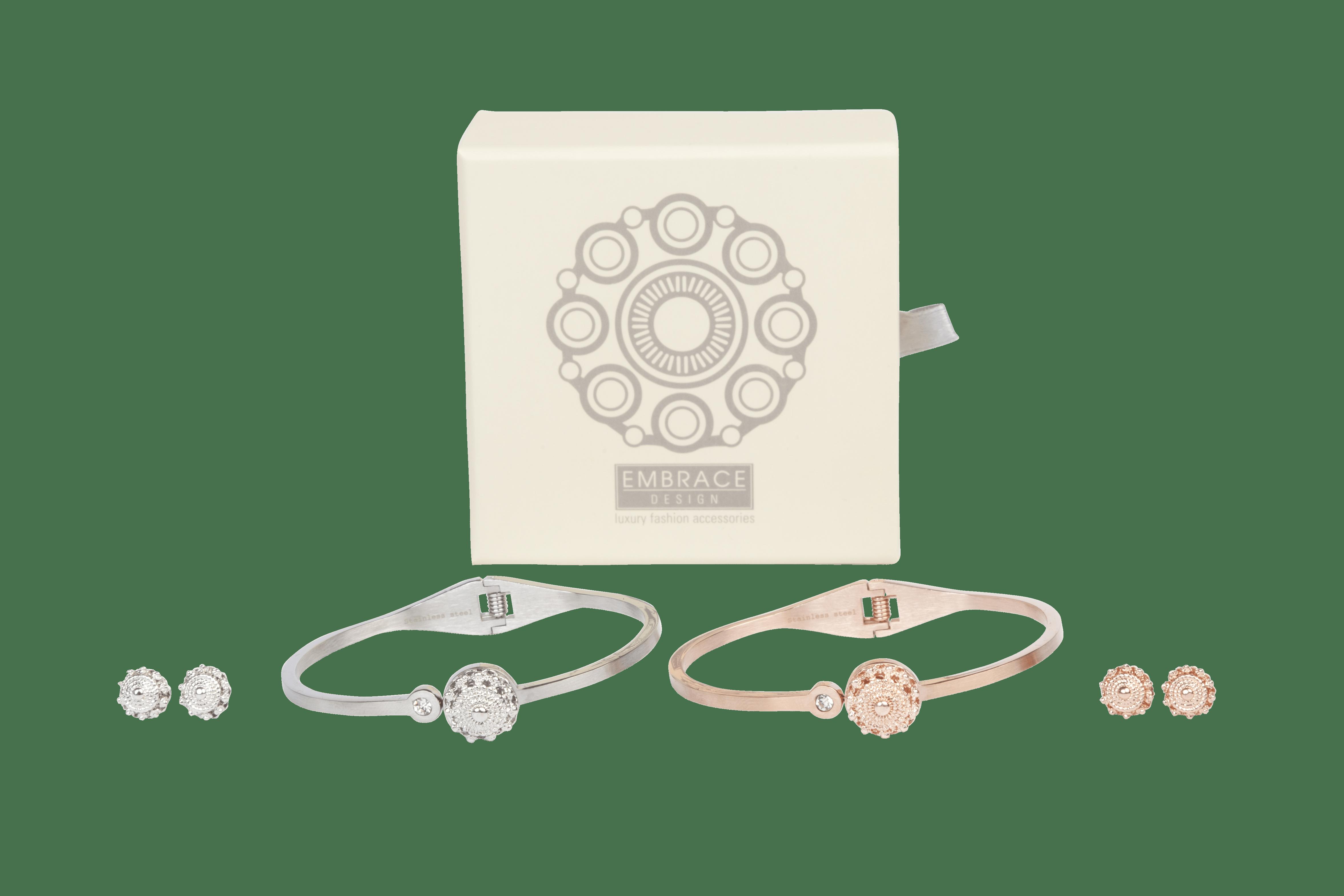 Zeeuwse knop sieraden set met armband en oorbellen van stainless steel waarin het Zeeuwse knoopje subtiel verwerkt is.